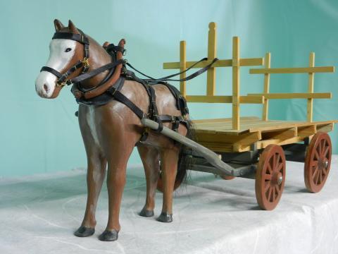Horse & hay wagon
